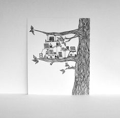 Miniature City Built in a Tree -  PRINT of my Original Ink Pen Drawing in Black and White 8x10 Whimsical Art
