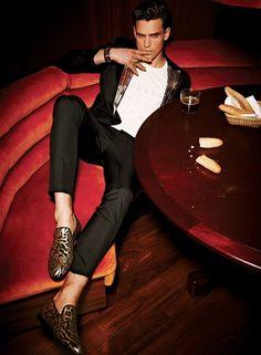 menandfashion: BRIGHT MOVESGuy Robinson by AP Kim for Essential Homme March/April 2013 (1) Z Zegna, Burberry Prorsum shirt, mocassin Gucci (2) Mugler, shirt Dsquared2, sunglasses Prada (3) Dsquared2, shoes Jimmy Choo (4) ViktorRolf Monsieur, pants Versace