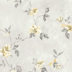 Beautiful Yellow & Gray Vining Floral Wallpaper Double Roll Bolts #Galerie