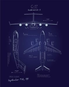 Share Squadron Posters for a 10% off coupon! C-17 Blueprint Art #http://www.pinterest.com/squadronposters/