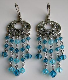 Summer Blue Gypsy Chandelier Earrings by GypsyJean on Etsy, $30.00