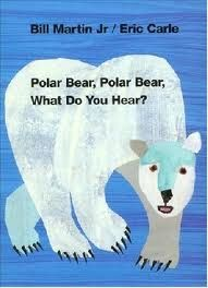 Oral/Silent.  Polar Bear, Polar Bear, What Do You Hear? written by Martin Bill and illustrated by Eric Carle (copyright date 1991).  This book is about the different distinct animal sounds.