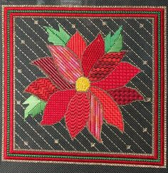 Different petal stitches, poinsettia needlepoint, designer unknown