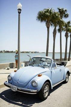 Blue VW beatle