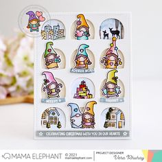 mama elephant | design blog: STAMP HIGHLIGHT: Little Girl Gnome Agenda Girl Gnome, Heart Projects, Mama Elephant Stamps, Elephant Design, Xmas Greetings, Holiday Messages, Matching Gifts, Cute Family, Holiday Tree