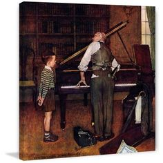 Marmont Hill Piano Tuner by Norman Rockwell Painting Print on Canvas, Size: 40 inch x 40 inch, Multicolor