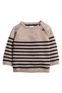 Fine-knit cotton jumper - Mole/Blue striped - Kids   H&M GB 1