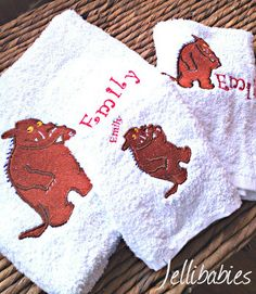 Personalised The Gruffalo new baby towel gift set at jellibabies personalised baby and children's clothes and accessories