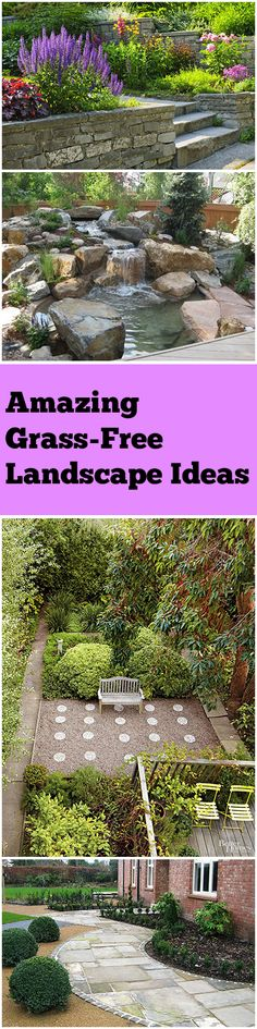DIY Landscape Ideas that are Grass-Free. Great options for Xeriscape and Hardscape yards. River Rock Landscaping, Landscaping With Rocks, Front Yard Landscaping, Landscaping Ideas, Landscape Design, Garden Design, Amazing Grass, No Grass Backyard, Design Jardin
