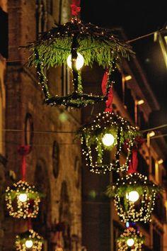 Lantern Lights and Garland #christmas