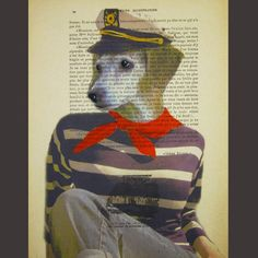 Sailor dog ORIGINAL ARTWORK  Mixed Media Hand by Cocodeparis, $10.00