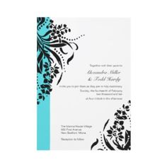 Black And White Wedding Invitations With Aqua (turquoise, teal or tiffany blue)