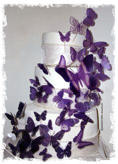 PURPLE BUTTERFLIES 46 Multi Sized 3D Wedding Birthday Cake Topper Weddings Decoration Amethyst. $50.00, via Etsy.