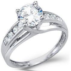 $1339.99 -1 Carat Round Diamond 14K White Gold Certified Engagement Ring