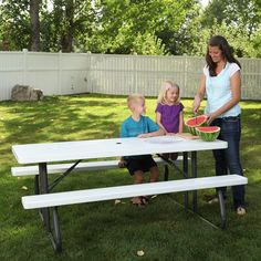 Lifetime Products 6 ft. Folding Picnic Table - White Granite | from hayneedle.com
