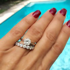 The All Time Best Of Gem Hunt- round cut diamond engagement ring, and wedding band, ring selfie
