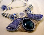 Bead Embroidery, Bead Weaving, Bib Necklace, Blue Angel