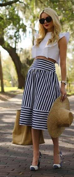 Joa Perpendicular Stripes Skirt