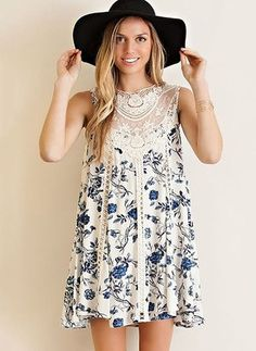 Vintage floral printed crochet lace applique tent dress featuring lace trims throughout. Style this dress for the ultimate boho-babe outfit. Keyhole on back with button closure. Fully lined. Shift Dresses, Day Dresses, Cute Dresses, Casual Dresses, Summer Dresses, Midi Dresses, Floral Dresses, Women's Casual, Summer Outfit