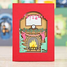 Gorgeous card made using the Christmas Fireplace range from @docrafts! Shop now at C&C: http://www.createandcraft.tv/pp/docrafts-xcut-shadow-box-die---christmas-fireplace-349925?p=1 #cardmaking #papercraft