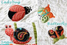 Applique | Ladybug Butterfly Snail Pattern | Free Pattern & Tutorial at CraftPassion.com  http://www.craftpassion.com/2013/04/ladybug-butterfly-snail-applique-patterns.html/2