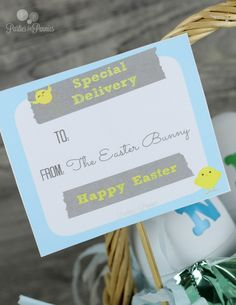 Easter Printable Special Delivery by PartiesforPennies.com #easter #easterprintable #eastercraft