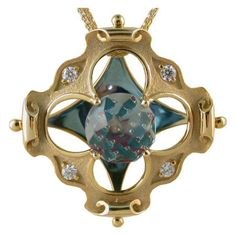 Blue Topaz Pendant  - Davinchi Cut https://www.goldinart.com/shop/colored-gemstones-necklaces/blue-topaz-pendant-davinchi-cut