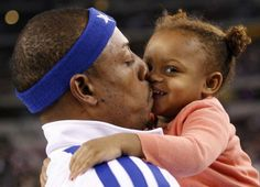 Boston Celtics Paul Pierce with daughter Prianna at All Star weekend 2010