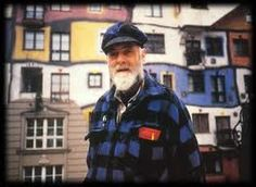 Friedrich Hundertwasser. My favorite artist at the place where we met him in 1980. He was sitting on the scaffold at the 4th floor with dangling feet, painting by his own hand the colored edges of the plaster around the window frames. After he discovered us snooping around at the construction site, he gave us a private tour thru his building, explaining all his fabulous ideas! Löwengasse 4, Vienna, Austria.