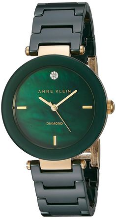 Anne Klein Women's Quartz Metal and Ceramic Dress Watch, Color:Green (Model: AK/1018GNGB) * You can find more details by visiting the image link.