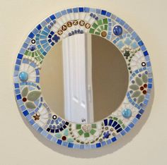 Mosaic mirror for baby boy stained glass by ShellyHeissDesigns, $150.00