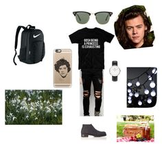 """Picnic"" by kaitlyn-ogg on Polyvore featuring Gosh, Dark Future, Harrys of London, Daniel Wellington, NIKE, Ray-Ban, Emma Watson, Casetify, men's fashion and menswear"
