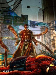 Doctor Octopus vs Spiderman by Isidore Koliavras Marvel Vs, Marvel Villains, Marvel Dc Comics, Marvel Heroes, Marvel Wolverine, Marvel Comic Character, Comic Book Characters, Marvel Characters, Comic Books Art