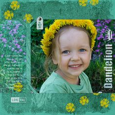 Dandelion digital scrapbooking layout by Ariadna Wiczling
