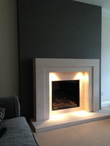 Dru Global glass fronted gas fire complete with Montana limestone fireplace and downlights, we formed false chimney breast to suit. Glass Fronted Gas Fire, Chimney Breast, Limestone Fireplace, Wood Burner, Gas Fires, Living Room Modern, Downlights, Sweet Home, New Homes