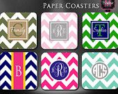 10-100 Custom Coasters, Double-Sided, Personalized and Monogrammed on Thick Felt Cover Paper