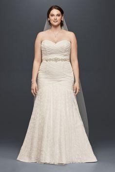 Extra Length Lace Strapless Mermaid Plus Size Wedding Dress - Soft White, 26W