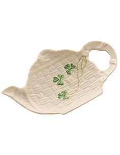 Belleek China Shamrock Teapot Spoon Rest Holder - The classic Basketweave pattern and hand-painted shamrocks accent our little teapot design making a perfect spoon rest. It's also great as a tea-bag, teaspoon holder or a little ring dish! Made in Ireland. Irish Pottery, Belleek China, Belleek Pottery, Teapot Design, Irish Girls, Irish Blessing, Irish Celtic, Tea Accessories, Spoon Rest
