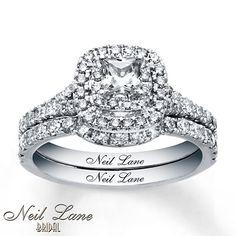 Can't decide if I like the princess cut better... Neil Lane Bridal Set 1 1/3 ct tw Diamonds 14K White Gold