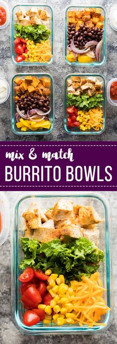 These mix & match meal prep burrito bowls will help you make four delicious lunches using what you have on hand in your pantry and fridge.  Vegan and gluten free options!
