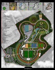 Sports Complex Sections - Landscape Model, Landscape Architecture Design, Landscape Plans, Landscape Drawings, Urban Landscape, Architecture Portfolio, Minimalist Landscape, Park Landscape, Modern Minimalist