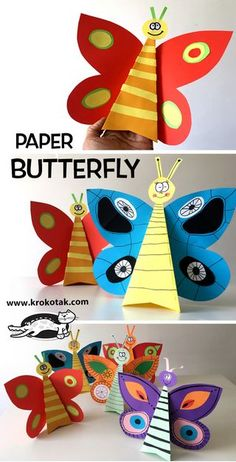 children activities, more than 2000 coloring pages Summer Crafts For Kids, Diy For Kids, Paper Toys, Paper Crafts, Butterfly Crafts, Butterfly Mobile, Paper Butterflies, Eric Carle, Kindergarten Art