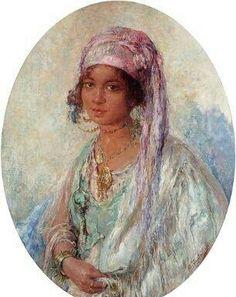 Algérie- Peintre BelgeEdouard VERSCHAFFELT(1874-1955) , huile sur toile, Titre : Beauté de Bou Saada