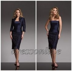Online Shop Charming 2012 Knee Length Short Pencile Lace Skirt Cocktail Mother of the Bride Groom Suits Dresses Dark Navy Blue With Jacket|Aliexpress Mobile