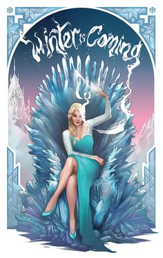 Frozen Elsa Art Print Game of Thrones Winter is by jefflangevin