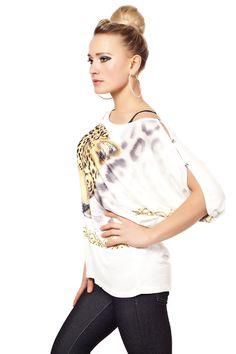 Wide Sleeve Shirt mit Tiger Print