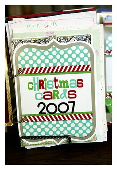Tip from Krisann Blair, ChristmasOrganizing.com - Great Idea!Do this to your cards every year and put them out as part of your decorating in the house, great way to be reminded of friends and family from years past! (CCV)    Wonderful way to keep your Christmas Cards.