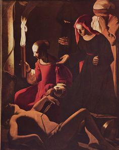 St Irene Attending St Sebastian - Georges de La Tour ... Painted as an altar piece, shortly before La Tour's death