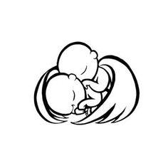 Twin angel babies tattoo