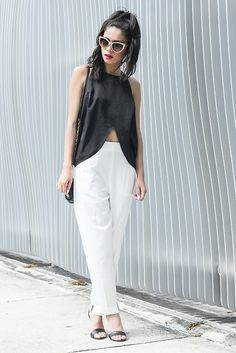 Daily Look High Waisted Pants, Shakuhachi Split Top, Stella Mc Cartney Sunglasses